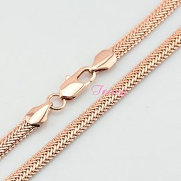 Wholesale Mens Snake Necklace - New Mens Womens 5mm 18K Solid Rose Gold Herringbone Snake Chain Necklace Rose Jewelry