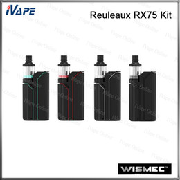 Mini kits de fuego online-100% Wismec Reuleaux RX75 Kit 75W 2ML con RX75 TC / VW / Desvío Mod 75W con botón de fuego oculto Amor Mini a atomizador de archivo