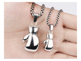 Wholesale Boxing Glove Mini - Fashion Mens Womens Stainless Steel Mini Boxing Glove Cool Pendant Necklace Jewelry Gift for Men, Silver Gold Black