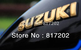 "Wholesale New Fuel Tanks - Wholesale-NEW FREE SHIPPING SUZUKI LETTER Fuel Tank Emblem ""GOLD"" fit for GN250 GN400, GS450 ts250 PAIR L R"