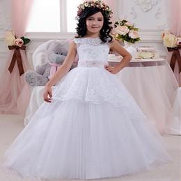 Wholesale Cheap Vest Wrap - Cheap Lace Flower Girls Dresses For Weddings Open Back White Ivory Bow Kids Floor Length Bridal Gown 2016 Little Girls Pageant Dress