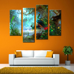 Картины павлина онлайн-4 Панели Декорация стен Два павлина Прогулка в лесной картине Картинки Печать на холсте Современное искусство холста Картина Картина для домашнего украшения