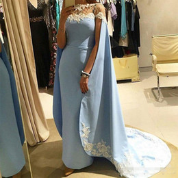 Wholesale Women Blue Cape - Sky Blue Fashion Sheath Prom Dresses With Cape Wraps Handmade Appliques Women Formal Dresses Evening Wear Beads African Party Gowns
