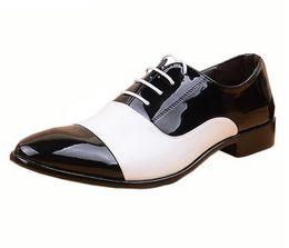 Wholesale Watermelon Formal Dresses - Men's PU Leather Wedding Flats 2016 Spring&Autumn White Black Business Men's Shoes Lace-Up Formal Dress Shoes