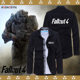 Wholesale Long Sleeve Anime Shirts - Wholesale- 2016 new Cosplay Jackets Fallout 4 PC game fans geeks costume shirt Anime cos long sleeve Mens cardigan casual slim Sweatshirts