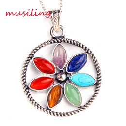 Wholesale Energy Plant - Pendants Pendulum Mens Jewelry Silver Plated Natural Stone Jewelry Charms 7 Chakra Beads Positive Energy Bead Accessories Antique