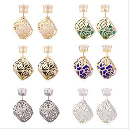 Wholesale Hollow Rose Crystal Earrings - 2017 Hot 6 Colors Hollow Out Rose Earrings For Women New Diamond Earring Jewelry Plating Double Sided Ball Candy Color Crystal Earrings