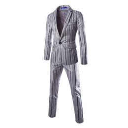 Wholesale Stripes Small Jackets - Wholesale-Free shipping Autumn new men's stripes printed a button suit jacket small suit jacket size M-2XL120 XYQ