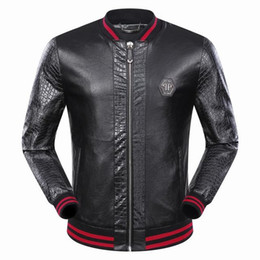 Wholesale Collar Dots Sweater - Free shipping tide men's leather autumn and winter new men's baseball collar sweater leather jacket jacket Warrior embroidery leather men