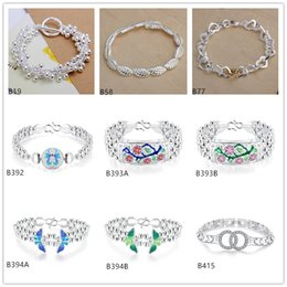 Wholesale Crystal Grape Wholesale - Mixed style 8 pieces a lot high grade women's gemstone sterling silver Bracelet Grapes beads Plum flower Butterfly 925 silver Bracelet EMB25