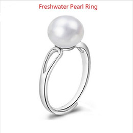 Wholesale Jewelry Cultured Black Pearls - Natural Freshwater Pearl Ring Real Genuine Cultured Pearl Ring Jewelry 925 Silver Pearl Rings for Women Wedding Party