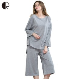 Wholesale- L ~ 3XL pigiama pigiama per donna pigiama set donna pigiama  casual pigiama in cotone lavorato a maglia o-collo casa lounge pigiama del  cotone ... 00235a94a