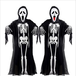 Wholesale Cheap Adult Clothing - Cheap 2017 Halloween Cosplay Costumes Skeleton clothes Black Skull Fanny Dress Up Party Costume For Adult Children with Mask and Gloves