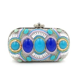 Wholesale Handmade Crystal Bags - hot sale 19cm Handmade Evening Clutch Purse Diamond Crystal glittering beaded Designer fashion woman lady Evening Bag
