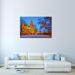 Wholesale Picture Frame Building - 1 Picture Combination European building In The Winter Night Canvas Art Wall Picture With No Frame For Home Decoration Wall