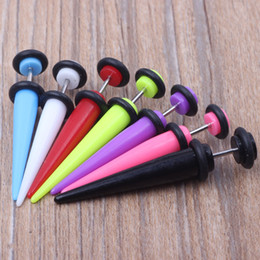 Wholesale Taper Tunnels - LOT 100pcs 7 color Neon Color Cheat Ear Plugs Fake Ear Taper Illusion Fake Plugs 5mm body jewelry