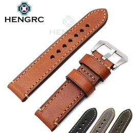 Wholesale Mens Black Leather Band Watch - HENGRC Watch Bands Strap 24mm 22mm 20mm Mens 100% Italian Genuine Leather Watchbands Gift 4 Colors Support Wholesale For PANERAI