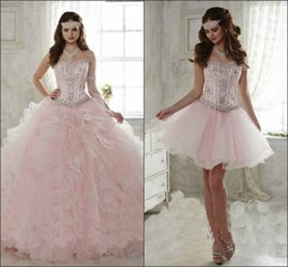 Wholesale Masquerade Deco - Detachable Ruffled Train Sweet 15 Girls Quinceanera Dresses 2018 Crystal Beaded Sweetheart Corset Prom Party Masquerade Ball Gowns