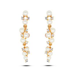 Wholesale Earring Korea Design - Japanese and South Korea 2016 new design set crystal pearl long studs earrings real gold plated allergy free earrings women fashion jewelry