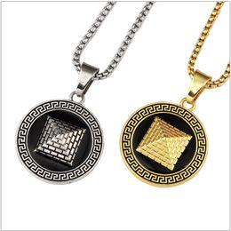 Wholesale Pyramid Silver - Fashion Hip Hop Jewelry Men Necklaces Golden Pyramid Pendant 18K Gold Plated Long 75CM Long Chain Design Punk Rock Micro Men
