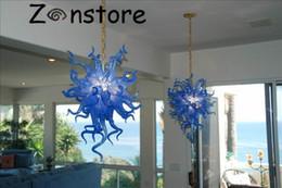 Luz azul led do oceano on-line-Lustre de Spray de mar-Ocean Azul Lustre de Cristal Pendurado na Casa Seaside LED 100% Mão Blown Lustre de Vidro Luminária