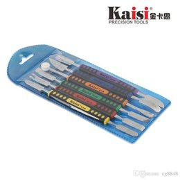 Spudger pry kit online-Kaisi 6pcs Dual endet Metall Spudger Set für iPhone iPad Tablet Handy-öffnende Reparatur-Tool-Kit