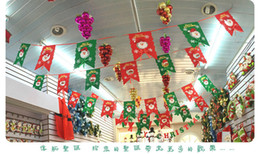 Wholesale Free Shopping Malls - free fast shipping Christmas decorations Hanging flags Pull the flag Shopping mall shop hanging arrangement Christmas tree flag