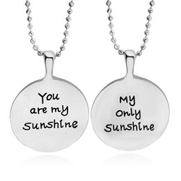Wholesale Silver Coin Pendants Wholesale - Engraved Grey Anatomy Necklace Hot Sales Letter You Are My sunshine You Will Always Be My sunshine coin Pendant Necklaces BFF loves Gifts