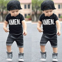 Wholesale Casual Winter Trousers Pants - 2pcs Toddler Kids Baby Boy T-shirt Tops+Striped Pants Trousers Outfits Children Clothing Set