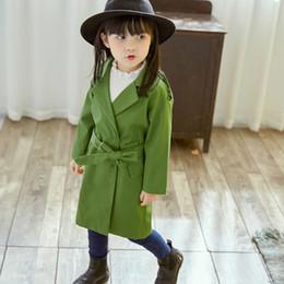 Wholesale Girls Wind Coat - Everweekend Kids Girls Western Fashion Jackets Solid Color Baby Blue Green Windbreak Coats Children Wind Break Outwears