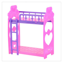 Wholesale Free Shipping Bedroom Furniture - New Doll Accessories Play Dream House Bed Cute Plastic Double Dolls Bed Frame For Kelly Barbie Doll Bedroom Furniture Random Free Shipping