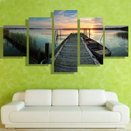 Wholesale Small Children Picture - 5p modern Home Furnishing HD picture Canvas Print art wall of the sitting room children room decoration theme -- Small bridge by the lake