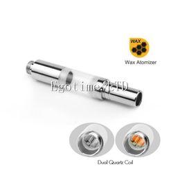 Wholesale Ego Atomizer Cartridge - 510 Wax Atomizer Dual Quartz Coil Cartridge for Ego 510 Thread O Pen Ce3 Bud Preheat Battery H10S mystica VV V11 Kit