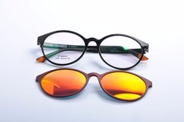 Wholesale Magnet Rectangle - Wholesale- DEDING Round unisex myopia optical frame with polarized sun lens for men and women magnet fashion clip on sunglasses DD1407