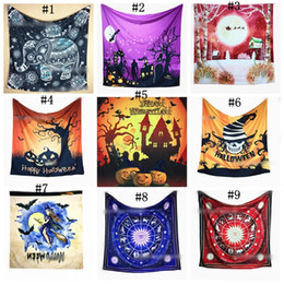 Wholesale Halloween Wall Coverings - Rectangle Halloween Gothic Wall Hanging Tapestry Outdoor Table Floor Covers Festival Bedroom Home Devil Pumpkin Print 60pcs OOA2639