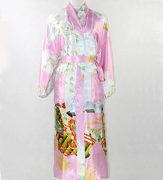 Wholesale Sexy Women Sleepwear Silk - Wholesale-New Fashion Pink Chinese Women Silk Robe Sexy Kimono Bath Gown Long Sleepwear Mujer Pijama Plus Size S M L XL XXL XXXL SR013