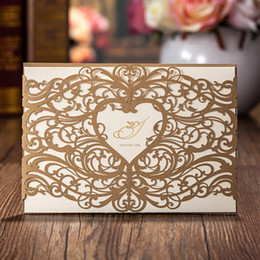 Wholesale Wedding Invitation Cards Gold - Dark Gold Laser Cut Heart and Flowers Wedding Invitations Cards, By Wishmade, CW5018, Customized Printing!