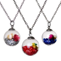 Wholesale Pendant Messages - 13 colors Wish Wishing message drift bottle pendants crystal Locket Dried Flower Necklace for women Float Locket Living jewelry 161537