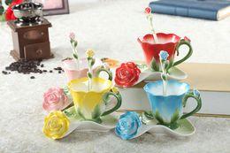 Wholesale european tea sets - 3D Rose Enamel Coffee Mug Tea Milk Cup Set With Spoon and Saucer Creative Ceramic European Bone China Drinkware Marriage Gift