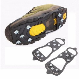 Wholesale Crampons Shoe Spikes - 1 Pair Professional Climbing Ice Crampon 8 Studs Anti-Skid Ice Snow Camping Walking Shoes Spike Grip Winter Outdoor Equipment