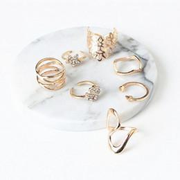 Wholesale Open Cross Ring - 7Pcs set Rhinestone Star Knuckle Rings Set Women Gold Color Crystal Arrow Cross Hollow Flower Open Ring Mid Finger Jewelry D4S