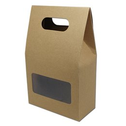 Wholesale Wedding Food Boxes - Wholeasle 10pcs Lot Brown Kraft Paper Gift Box With Handle Clear Window For Wedding Party Candy Packaging Box