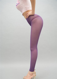 Wholesale See Through Sexy Leggings - New Sexy Women Mesh Transparent Leggings See Through Pencil Pants Erotic Lingerie Club Wear Candy Colors FX1010