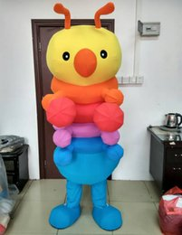 Wholesale Worm Costumes - 0524 free shipping adult colorful worm mascot costume with mini fan inside the head for sale