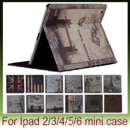 Wholesale Ipad Mini Uk Flag Cover - UK and US Flag Retro Design Leather Cases Cover Stand For Apple iPad Air2 air 2 5 4 6 Mini 1 2 3