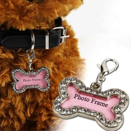 Wholesale Large Pink Rhinestone - 200pcs Pet Collar Charm Dog ID Name Tag Rhinestone Accessories Bone Shaped Doggie Boutique Puppy Crystal Phote Frame Label ZA1296