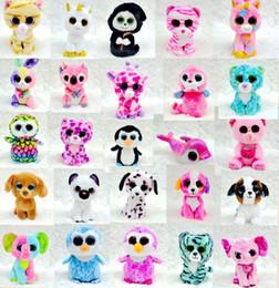 Ty on-line-60 pcs Ty Beanie Boos Recheado de Pelúcia Brinquedos Por Atacado Grandes Olhos Animais Macios Bonecas para Crianças Presentes de Aniversário Livre EMS