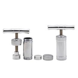 Wholesale Metal Compressor - Aluminum T-shaped Hard Metal Pollen Press Presser Compressor Herb Grinder Spice Crusher Grinder Hand Muller Silver
