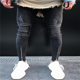 Wholesale Knee Pants For Men - 2017 European American Style fashion Men's casual Ripped Pencil trousers jeans Skinny zipper knee jeans for men Denim Pants