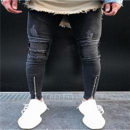 Wholesale Jeans Length Men - 2017 European American Style fashion Men's casual Ripped Pencil trousers jeans Skinny zipper knee jeans for men Denim Pants